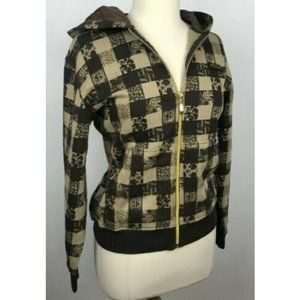 Vtg Southpole Checkered Hooded Jacket Gold Zippers